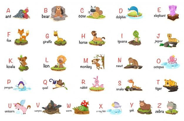 Ilustracja litery alfabetu zwierząt az
