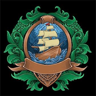 Ilustracja łodzi żaglowej z ornamentem