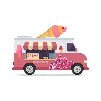 Ilustracja lodziarnia pojazdu ciężarówki żywności
