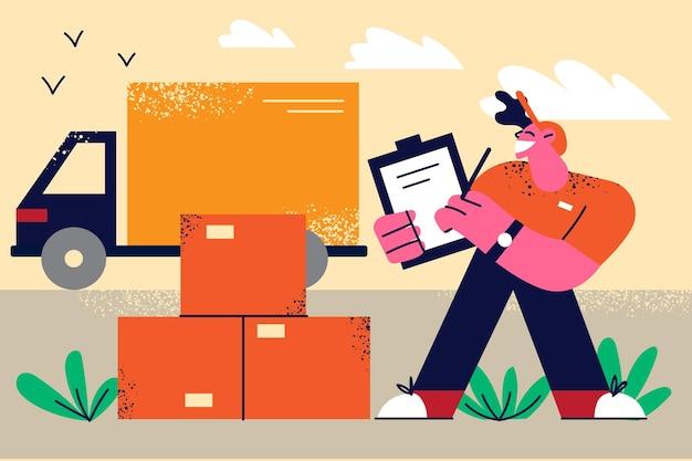 Ilustracja logistyki transportu i dostawy