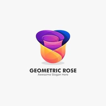 Ilustracja logo abstrakcyjny kształt geometryczny kwiat róży w kolorowym stylu