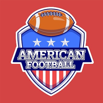 Ilustracja logo american ball sports. sport. płaski styl kreskówki