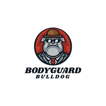 Ilustracja logo bodyguard bulldog maskotka stylu cartoon