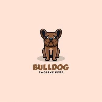 Ilustracja logo buldog prosty styl maskotki.