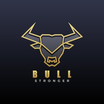 Ilustracja logo bull shit line art style.