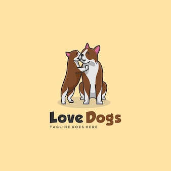 Ilustracja logo cute dogs and friend