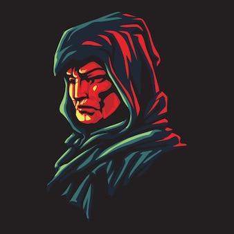 Ilustracja logo czarny człowiek z kapturem esport