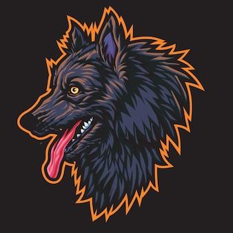 Ilustracja logo czarny wilk esport