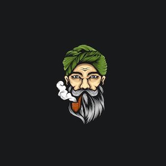 Ilustracja logo człowiek broda palenia