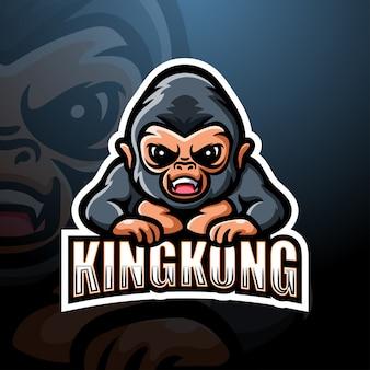 Ilustracja logo e-sport maskotka kingkong