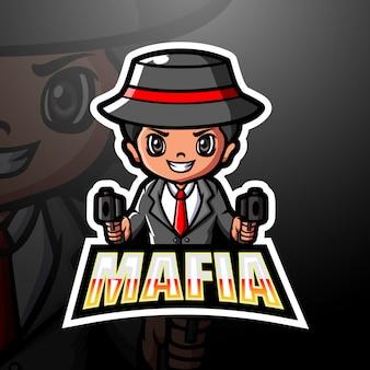 Ilustracja logo e-sport maskotka mafii