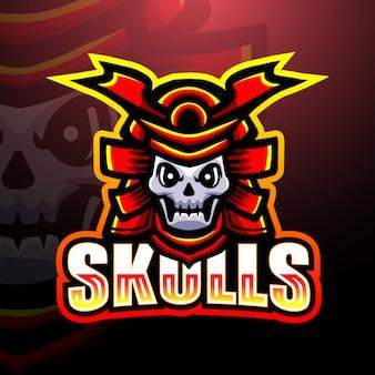 Ilustracja logo e-sport maskotka wojownik samurajów