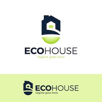Ilustracja logo eco house. logotyp nieruchomości w zielonym domu