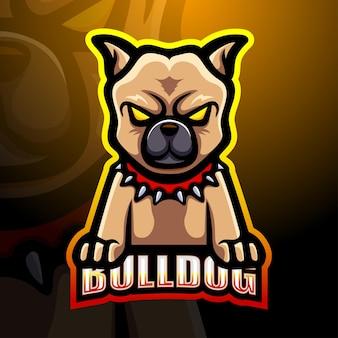 Ilustracja logo esport maskotka bulldog