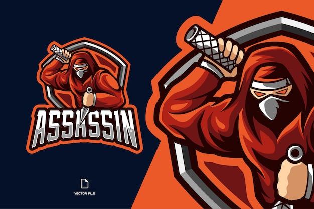 Ilustracja logo esport maskotka czerwony ninja assassin dla zespołu gry