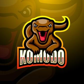 Ilustracja logo esport maskotka komodo