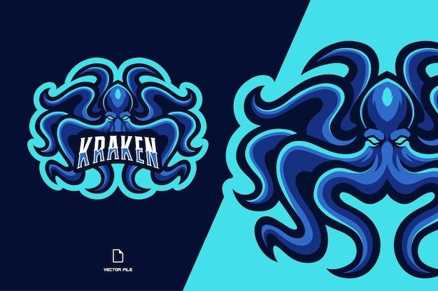 Ilustracja logo esport maskotka kraken ośmiornicy dla zespołu gry