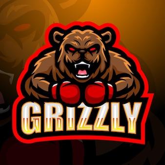 Ilustracja logo esport maskotka niedźwiedzia