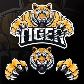 Ilustracja logo esport wściekłego dzikiego zwierzęcia tygrysa
