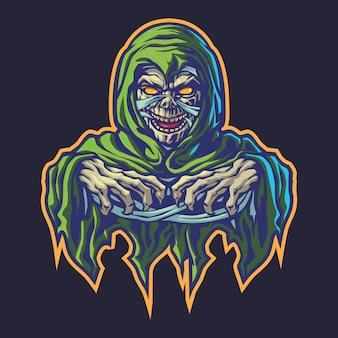 Ilustracja logo esport zielony z kapturem mumia