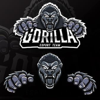 Ilustracja logo esport zły dzikich zwierząt goryl