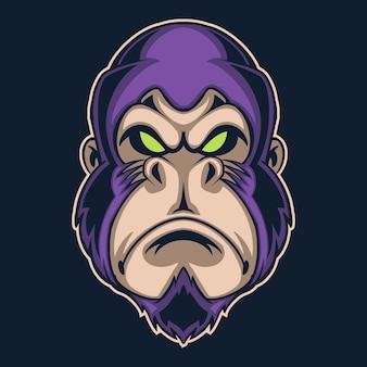 Ilustracja logo fioletowy goryl na ciemnym tle