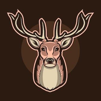 Ilustracja logo głowa jelenia na białym tle na ciemnej maskotki