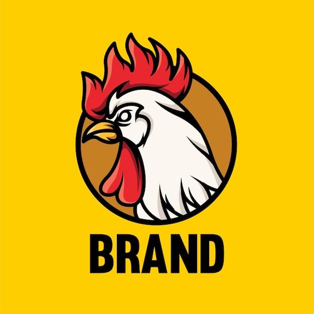Ilustracja logo głowy koguta dla biznesu z kurczaka