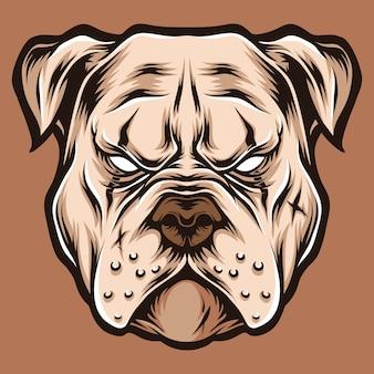 Ilustracja logo głowy pitbull