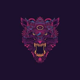 Ilustracja logo głowy wilkołaka