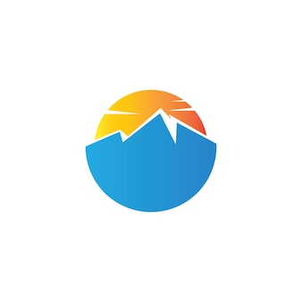 Ilustracja logo górskiego prostego koła