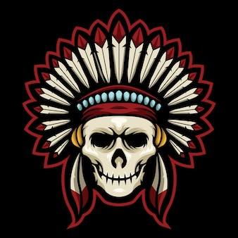 Ilustracja logo indian skull esport