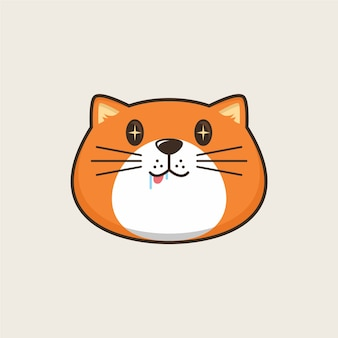 Ilustracja logo kreskówka głowa kota głodny