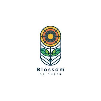Ilustracja logo kwiat płaskiej linii
