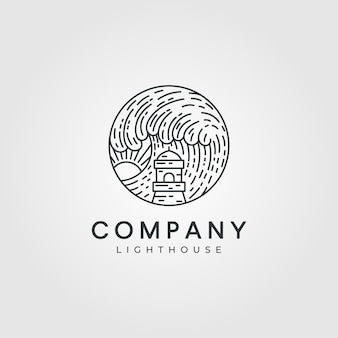 Ilustracja logo latarni morskiej, minimalistyczne logo latarni morskiej
