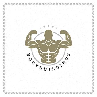 Ilustracja logo lub odznaka kulturysta człowieka