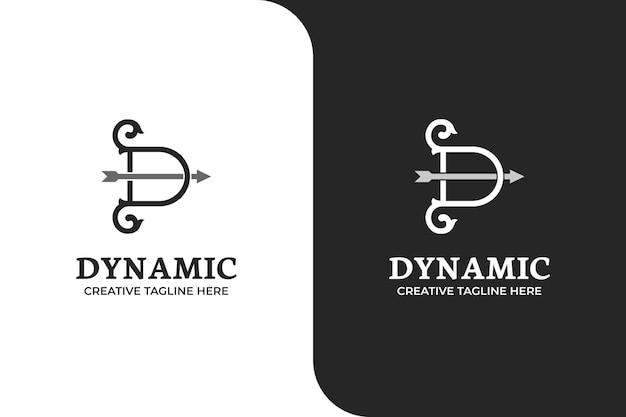 Ilustracja logo łuk i strzałka litera d