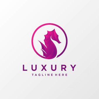 Ilustracja logo luksusowego konia morskiego premium