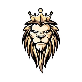 Ilustracja logo lwa w stylu luksusowym i e-sportowym