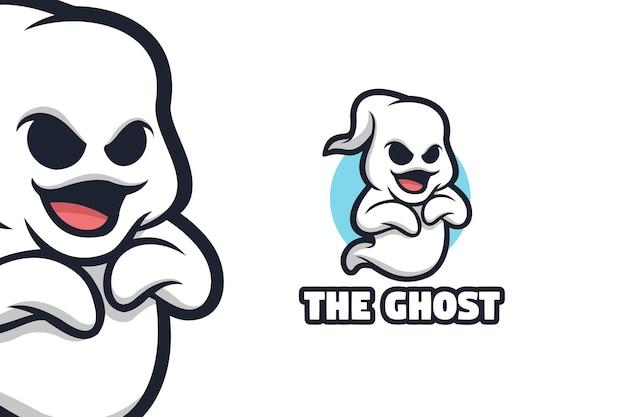 Ilustracja logo maskotka biały ładny duch