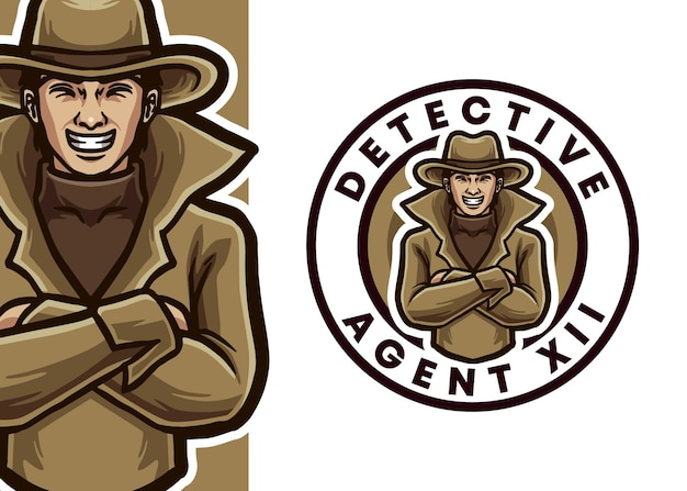Ilustracja logo maskotka detektywa