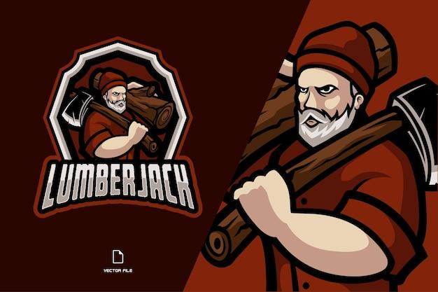 Ilustracja logo maskotka drwal