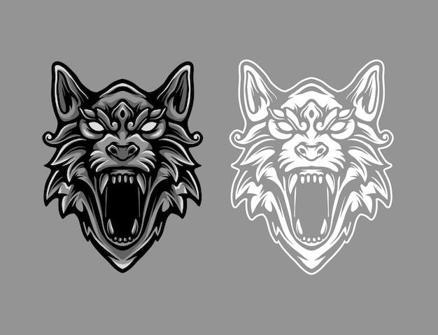 Ilustracja logo maskotka głowa wilka