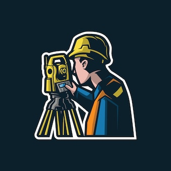 Ilustracja logo maskotka inżyniera budownictwa