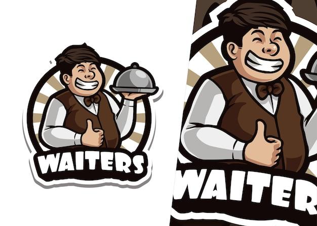 Ilustracja logo maskotka kelner