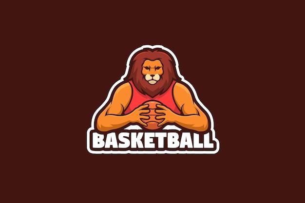 Ilustracja logo maskotka klubu koszykówki lew