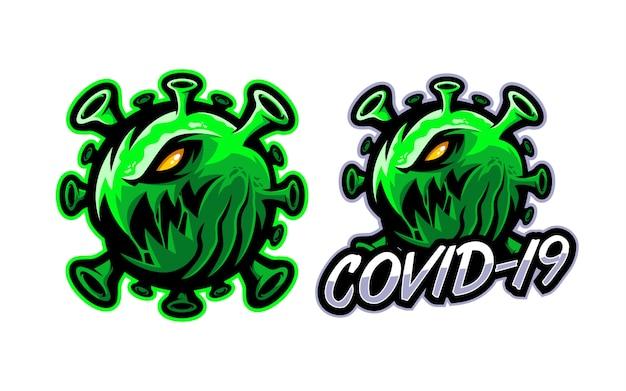 Ilustracja logo maskotka koronawirusa