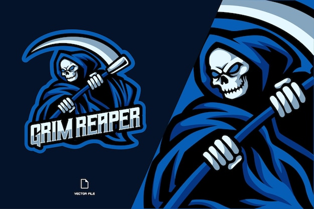 Ilustracja logo maskotka kostucha czaszki