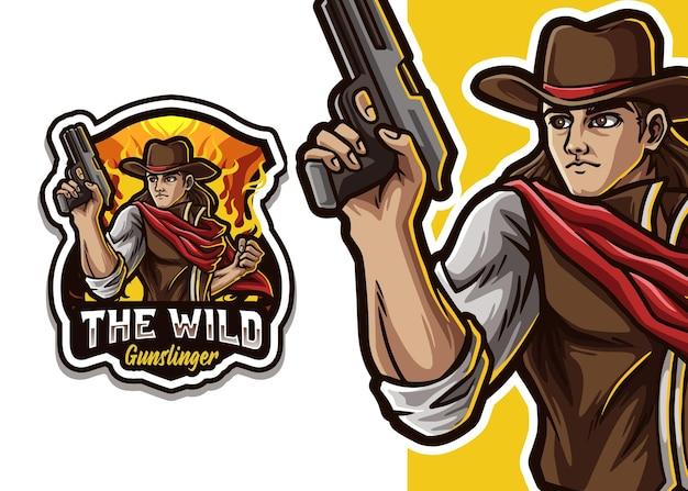 Ilustracja logo maskotka kowboja
