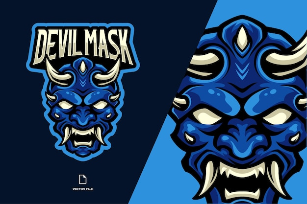 Ilustracja logo maskotka niebieski diabeł dla zespołu gry